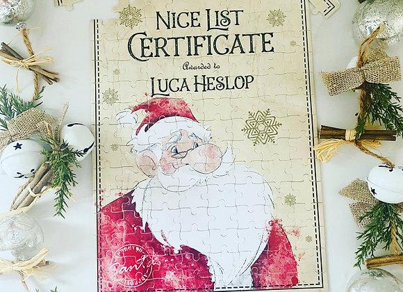 Personalised Santa Nice List Certificate Jigsaw