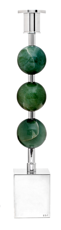Three Globes Candle Holder Jade
