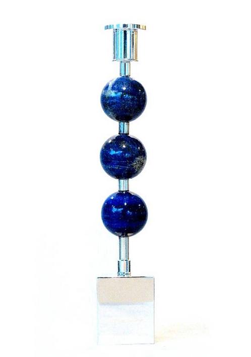 Three Globes Candle Holder Lapis