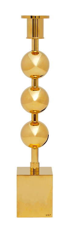 Three Globes Candle Holder Brass