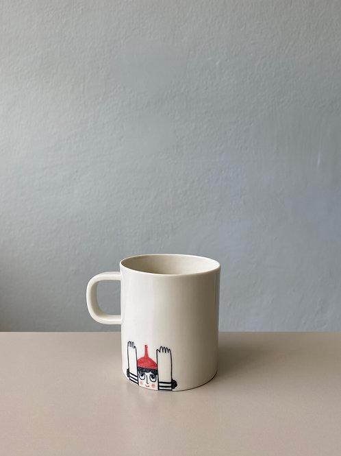 Figürlü Kahve Fincanı - Kulplu