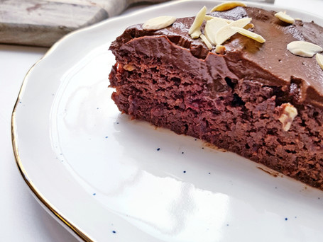 Beetroot almond & cacao cake with avocado frosting