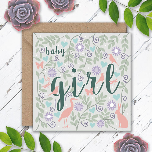 Baby Girl Animals and Leaves