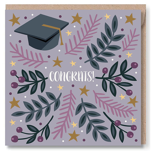Congrats Mortar Board and Leaves