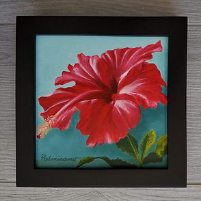 Hibiscus Red Flower 6x6x1.5 Crimson Showgirl Oil Painting Black Frame