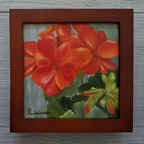 Garden Geranium 6x6x1.5 Oil Painting Flower Brown Frame