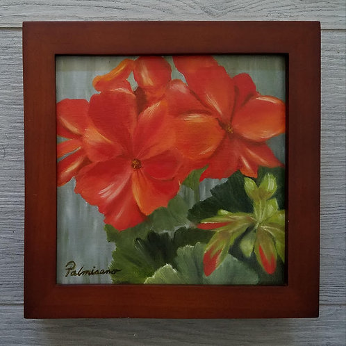 Garden Geranium Framed Original Oil Painting