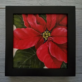 Tis the Season 6x6x1.5 Red Poinsettia Flower Oil Painting Christmas Holiday Black Frame