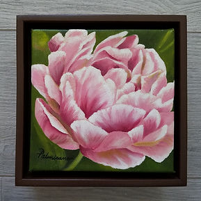 Pink Peony Only You Oil Painting Brown Floater Frame