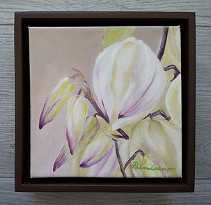 Aloe flower blooms 6x 6x1.5 oil painting brown floater frame 7x7x2.5
