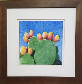 Prickly Pear Cactus Desert Fruits Watercolor Painting