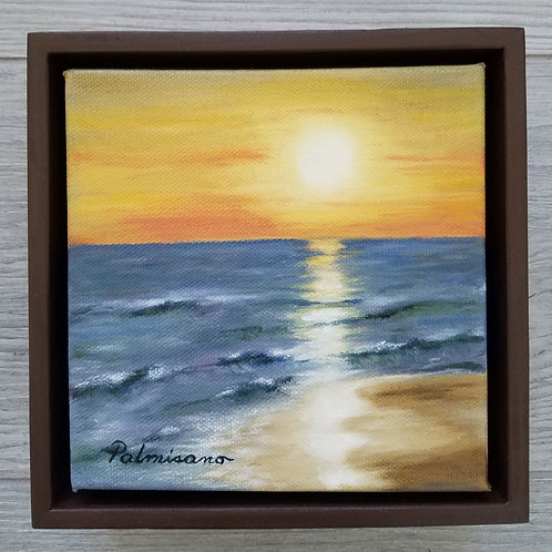Warm Sunset Framed Original Oil Painting