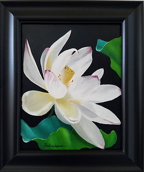 Lotus Flower Dance Oil Painting Pods Black Frame 10x 8 oil painting of lotus flower with pod and lotus leaves curled up around it. It appears like it is dancing.