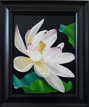 Lotus Flower Dance Oil Painting Pods Black Frame