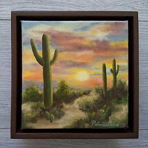 Desert Sunset Trail with Saguaro Cactus 6x6x1.5 oil painting with sunset sky. Framed in7x7x2,5 brown floater frame.