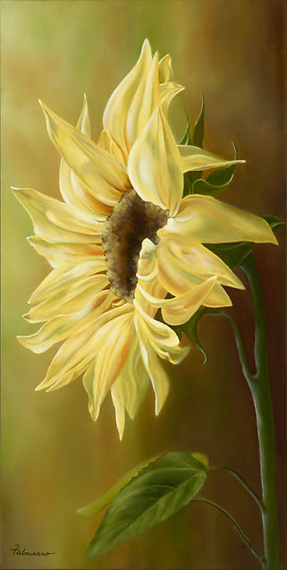 Sunflower Light 30x15x1.5 Oil Painting Yellow Sun Flower Stand in the Light