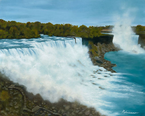 Niagara Falls Oil Painting 16x20 with Mist Water NYS