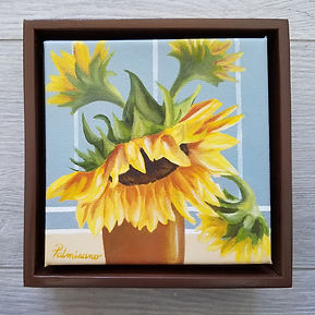 Sunflower Oil Painting 6x6x1.5 Taking A Bow oil painting framed in a Brown Floater Frame 7x7x2.5