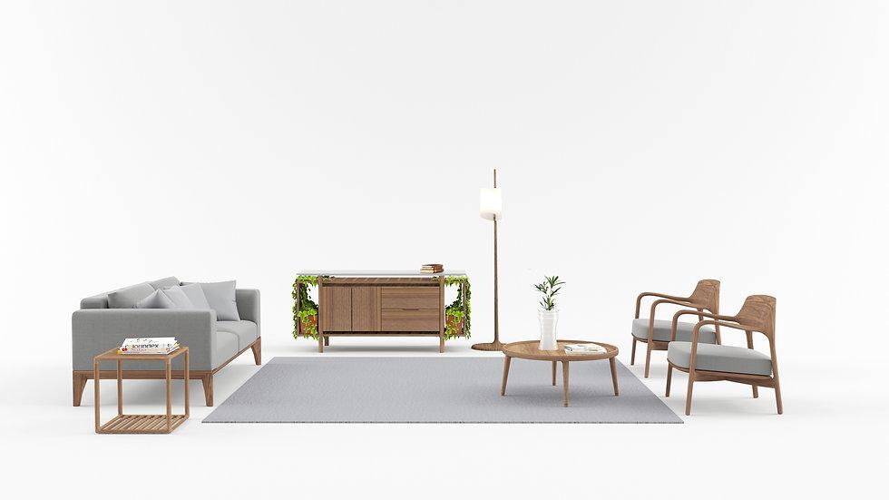 Porada's interior scenario with original sideboard designed by Hugo Charlet in the back