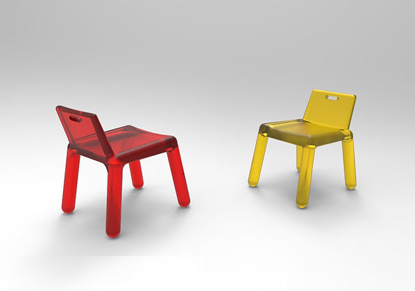 Translucent Red and Yellow Child Chair with Bulky Legs on a white backgroung