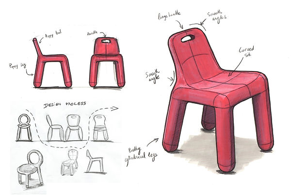 Marker Research Sketch of the Niki Chair