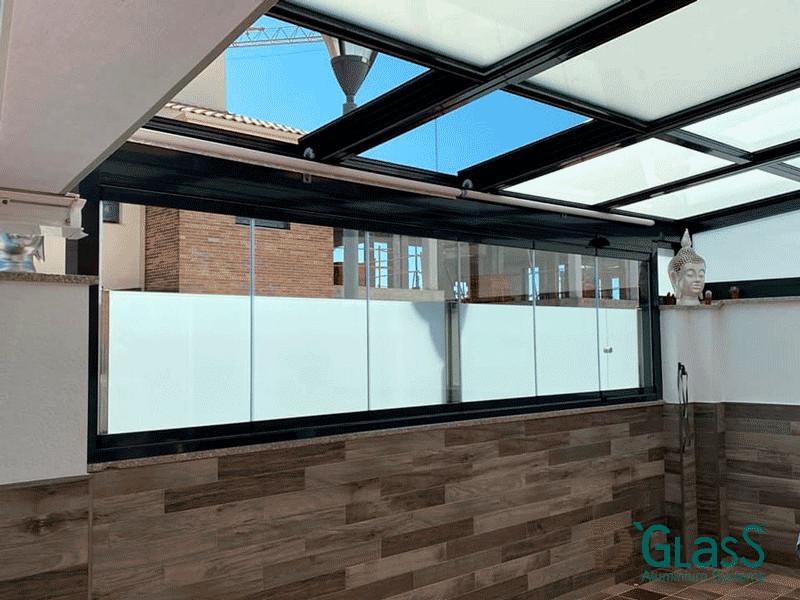 Sistema D'Glass de cortina de cristal y techo móvil motorizado