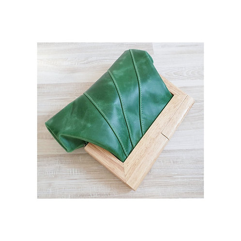 Emerald green leather and timber clutch.