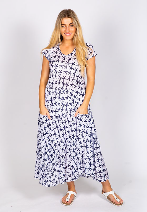 Starfish Print - Flared Crinkle Cotton Dress
