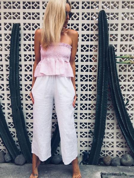 Puglia Linen Pants - White