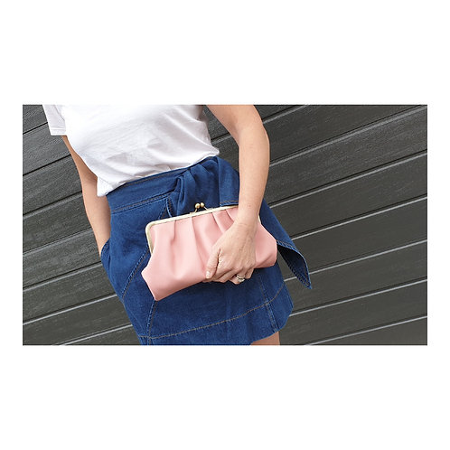 Sherbet Pleated Leather Clutch