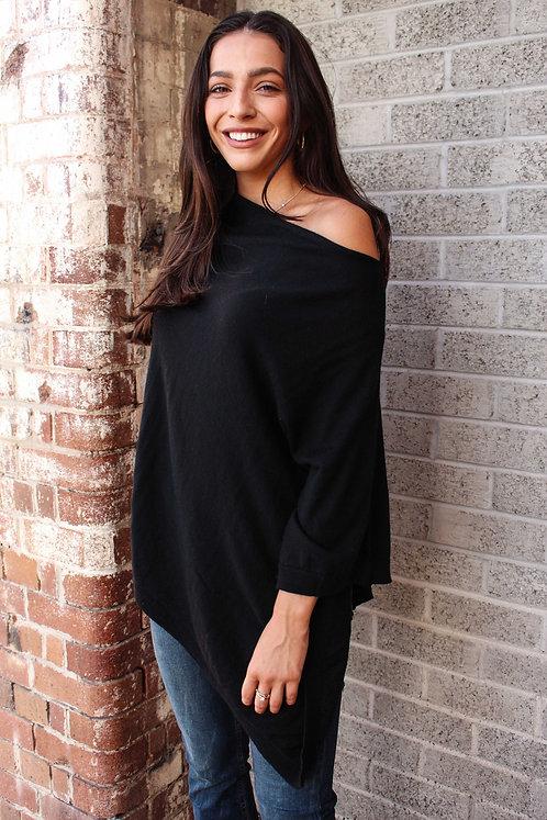 100% Australian merino wool poncho - black