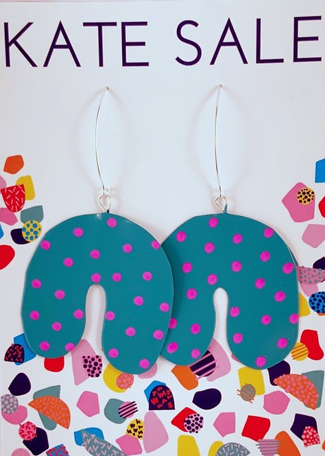Fun time earrings - teal and pink spots