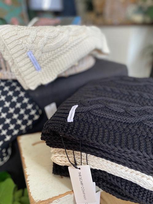 100% cotton knit scarf - cream