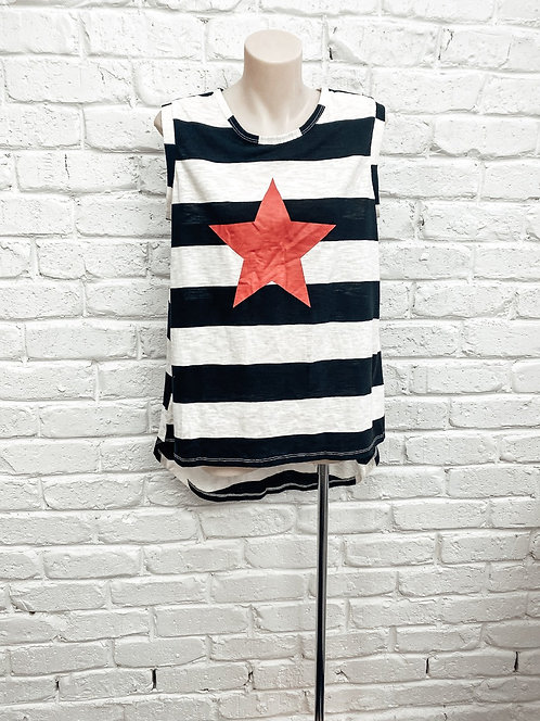 Black and White stripped tank with coral star