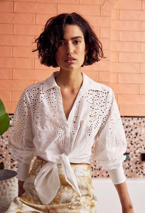 Ortega Cut-out Volume Sleeve Shirt l White Pine
