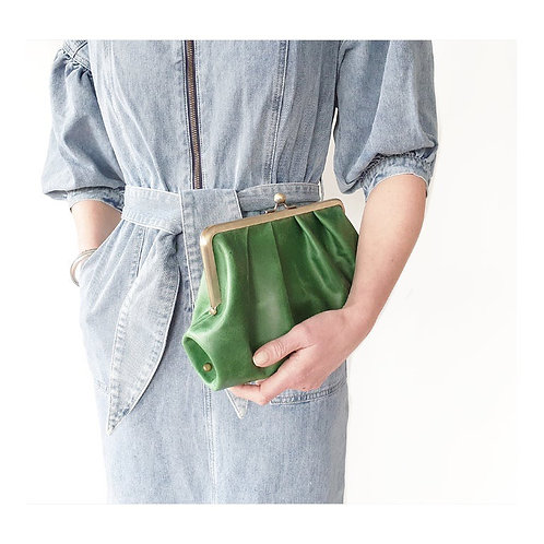 Emerald Green pleated leather clutch