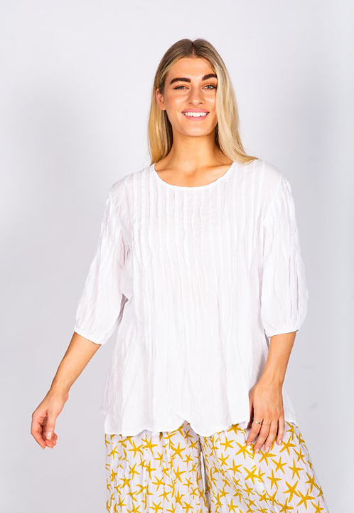 White Pin-Tuck Crinkle Cotton top