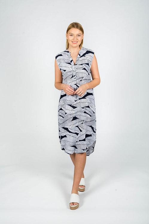Navy and White Palm Leaf Print Shift Dress