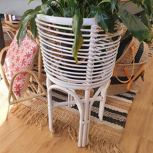 Small Rattan Plant Stand l White