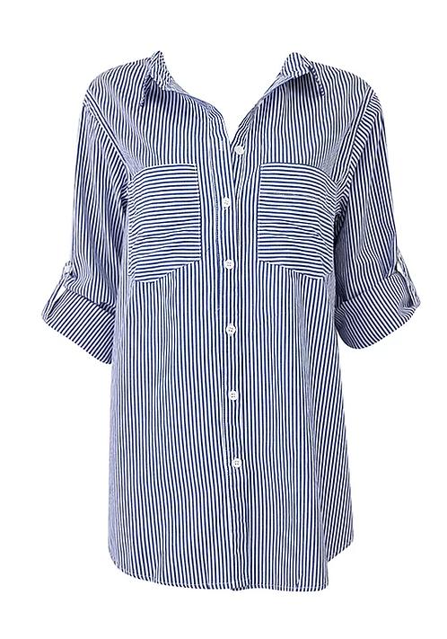 Blue / White Button Front Blouse
