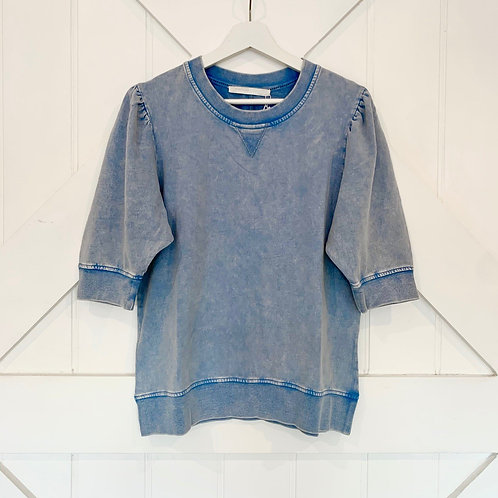 Peony Puff Sleeve Crew l Washed Blue