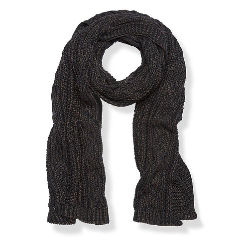 100% cotton knitted scarf - charcoal