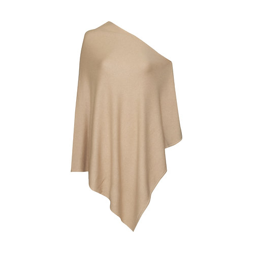 Sophie Poncho - 100% Cashmere (Frosted Almond)