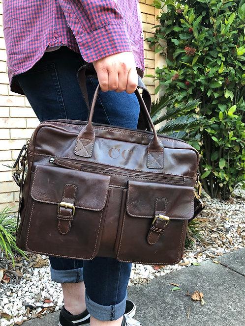 100% Leather Men's Messenger Bag