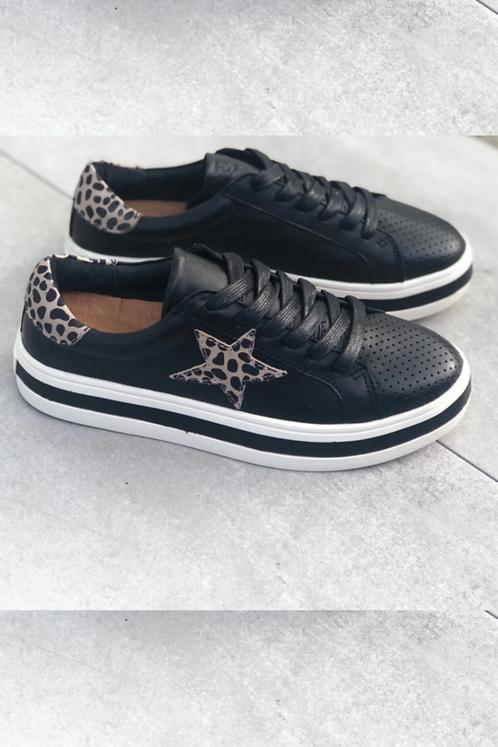 Pixie Sneaker - Black & Animal Print Star (Alfie & Evie)