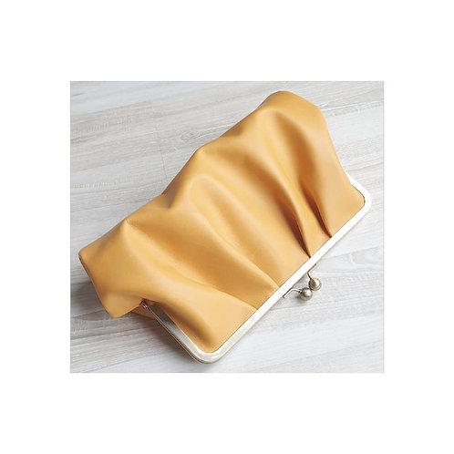 Saffron Pleated Leather clutch