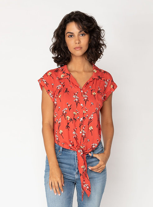 The Nele Blouse - Ruby Flowers