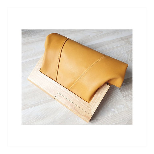 Saffron Leather and timber clutch