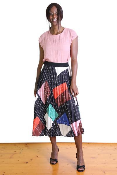 Tiffany Pleat Black Skirt