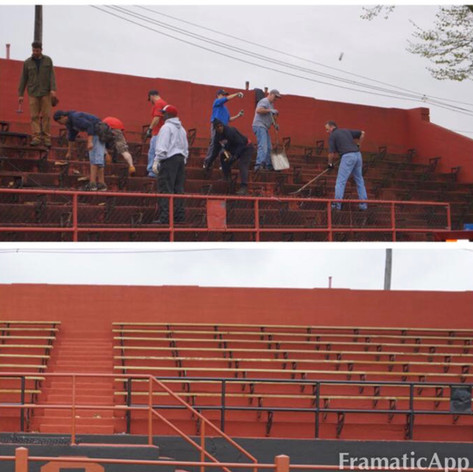 First Day of Scott Field Project And After Repairs to Concrete/New Paint/New Bleachers